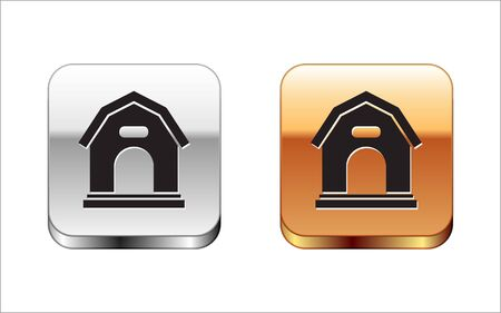 Black Dog house icon isolated on white background. Dog kennel. Silver-gold square button. Vector Illustration