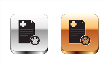 Black Clipboard with medical clinical record pet icon isolated on white background. Health insurance form. Medical check marks report. Silver-gold square button. Vector Illustration