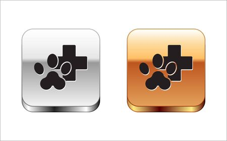 Black Veterinary clinic symbol icon isolated on white background. Cross hospital sign. Stylized paw print dog or cat. Pet First Aid sign. Silver-gold square button. Vector Illustration Illustration