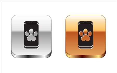 Black Online veterinary clinic symbol icon isolated on white background. Cross with dog veterinary care. Pet First Aid sign. Silver-gold square button. Vector Illustration