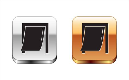 Black Door for pet icon isolated on white background. Silver-gold square button. Vector Illustration Illusztráció