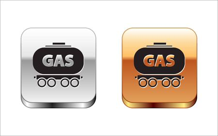 Black Gas railway cistern icon isolated on white background. Train gasoline tank on railway car. Rail freight. Silver-gold square button. Vector Illustration