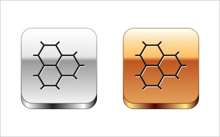Black Chemical formula consisting of benzene rings icon isolated on white background. Silver-gold square button. Vector Illustration