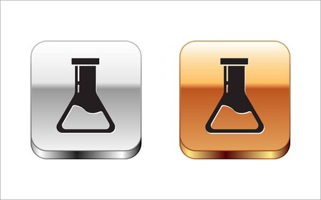 Black Test tube and flask - chemical laboratory test icon isolated on white background. Laboratory glassware sign. Silver-gold square button. Vector Illustration Illustration