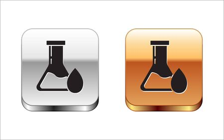 Black Oil petrol test tube icon isolated on white background. Silver-gold square button. Vector Illustration Illustration