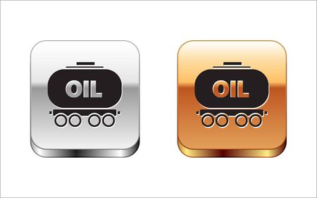 Black Oil railway cistern icon isolated on white background. Train oil tank on railway car. Rail freight. Oil industry. Silver-gold square button. Vector Illustration