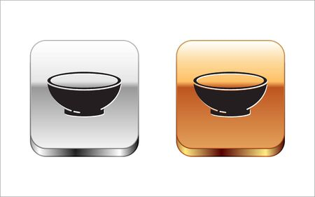 Black Bowl of hot soup icon isolated on white background. Silver-gold square button. Vector Illustration