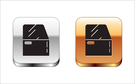 Black Car door icon isolated on white background. Silver-gold square button. Vector Illustration Vettoriali
