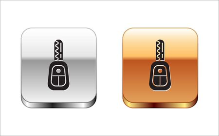 Black Car key with remote icon isolated on white background. Car key and alarm system. Silver-gold square button. Vector Illustration Vecteurs