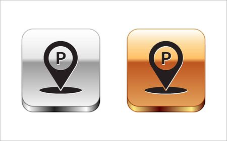 Black Location with parking icon isolated on white background. Street road sign. Silver-gold square button. Vector Illustration 向量圖像