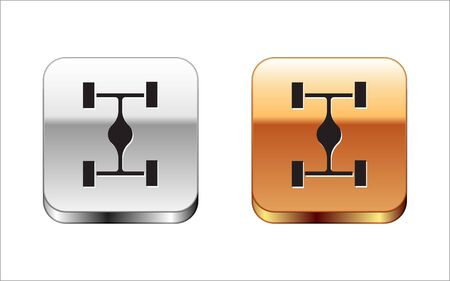 Black Chassis car icon isolated on white background. Silver-gold square button. Vector Illustration Archivio Fotografico - 134963591