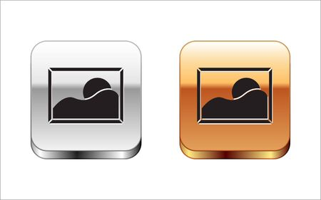 Black Picture landscape icon isolated on white background. Silver-gold square button. Vector Illustration