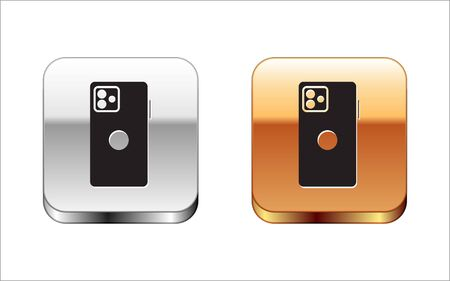 Black Smartphone, mobile phone icon isolated on white background. Silver-gold square button. Vector Illustration