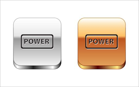 Black Power button icon isolated on white background. Start sign. Silver-gold square button. Vector Illustration Stock Vector - 134964918