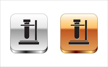 Black Glass test tube flask on stand icon isolated on white background. Laboratory equipment. Silver-gold square button. Vector Illustration