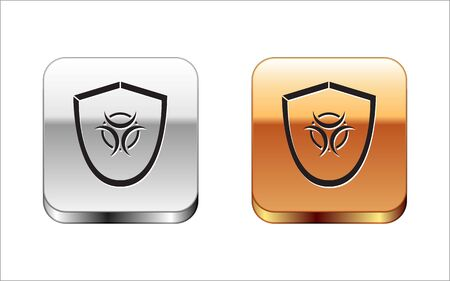 Black Biohazard symbol on shield icon isolated on white background. Silver-gold square button. Vector Illustration