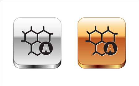 Black Chemical formula icon isolated on white background. Abstract hexagon for innovation medicine, health, research and science. Silver-gold square button. Vector Illustration Illustration
