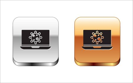 Black Bacteria on laptop icon isolated on white background. Bacteria and germs, cell cancer, microbe, virus, fungi. Silver-gold square button. Vector Illustration