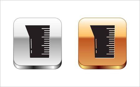 Black Laboratory glassware or beaker icon isolated on white background. Silver-gold square button. Vector Illustration Illustration
