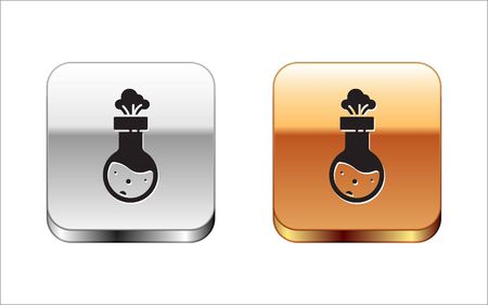 Black Test tube and flask chemical laboratory test icon isolated on white background. Laboratory glassware sign. Silver-gold square button. Vector Illustration