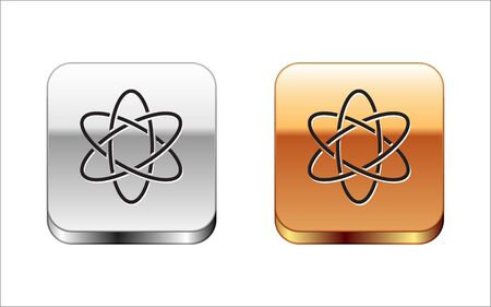 Black Atom icon isolated on white background. Symbol of science, education, nuclear physics, scientific research. Silver-gold square button. Vector Illustration