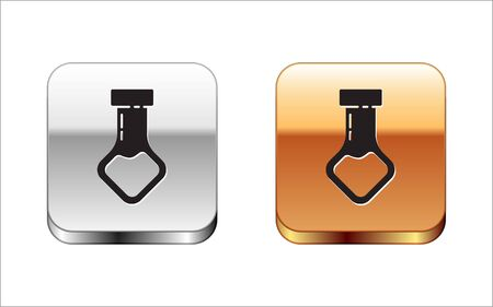 Black Test tube and flask chemical laboratory test icon isolated on white background. Laboratory glassware sign. Silver-gold square button. Vector Illustration Stock Vector - 134963300