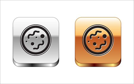 Black Bacteria icon isolated on white background. Bacteria and germs, microorganism disease causing, cell cancer, microbe, virus, fungi. Silver-gold square button. Vector Illustration Illustration