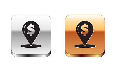 Black Cash location pin icon isolated on white background. Pointer and dollar symbol. Money location. Business and investment concept. Silver-gold square button. Vector Illustration