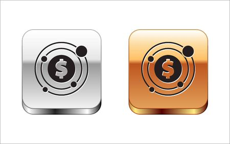 Black Target with dollar symbol icon isolated on white background. Investment target icon. Successful business concept. Cash or Money. Silver-gold square button. Vector Illustration Иллюстрация