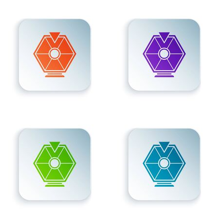 Color Lucky wheel icon isolated on white background. Set icons in colorful square buttons. Vector Illustration