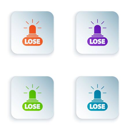 Color Casino losing icon isolated on white background. Set icons in colorful square buttons. Vector Illustration