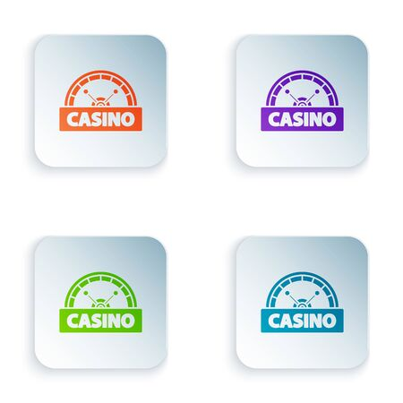 Color Casino signboard icon isolated on white background. Set icons in colorful square buttons. Vector Illustration