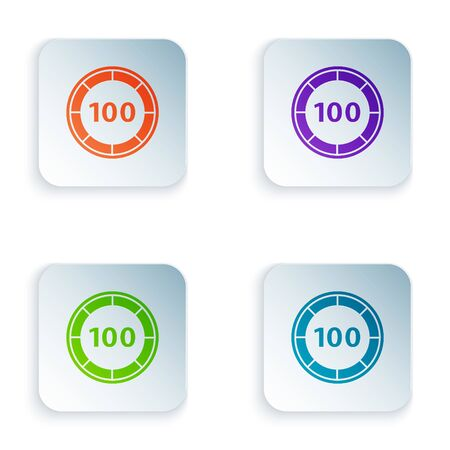 Color Casino chips icon isolated on white background. Casino gambling. Set icons in colorful square buttons. Vector Illustration Çizim