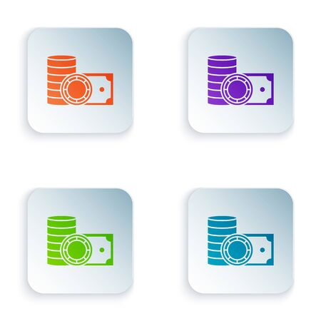 Color Casino chips and stacks paper money cash icon isolated on white background. Casino gambling. Set icons in colorful square buttons. Vector Illustration