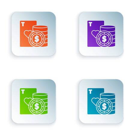 Color Casino chip and playing cards icon isolated on white background. Casino poker. Set icons in colorful square buttons. Vector Illustration