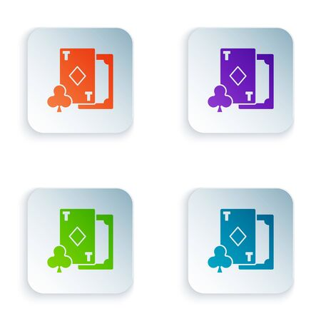 Color Playing card with diamonds symbol icon isolated on white background. Casino gambling. Set icons in colorful square buttons. Vector Illustration
