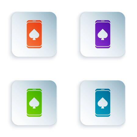 Color Online poker table game icon isolated on white background. Online casino. Set icons in colorful square buttons. Vector Illustration 일러스트