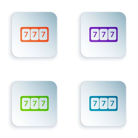 Color Slot machine with lucky sevens jackpot icon isolated on white background. Set icons in colorful square buttons. Vector Illustration Ilustracja