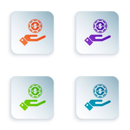Color Hand holding casino chips icon isolated on white background. Casino gambling. Set icons in colorful square buttons. Vector Illustration