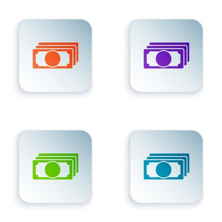 Color Stacks paper money cash icon isolated on white background. Money banknotes stacks. Bill currency. Set icons in colorful square buttons. Vector Illustration Çizim