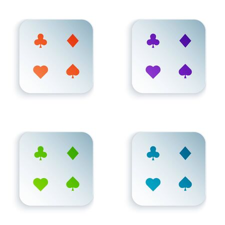 Color Playing cards icon isolated on white background. Casino gambling. Set icons in colorful square buttons. Vector Illustration
