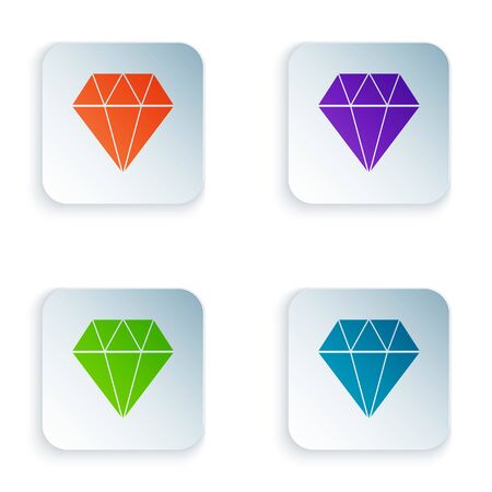 Color Diamond icon isolated on white background. Jewelry symbol. Gem stone. Set icons in colorful square buttons. Vector Illustration Иллюстрация