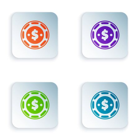 Color Casino chip with dollar symbol icon isolated on white background. Casino gambling. Set icons in colorful square buttons. Vector Illustration Çizim