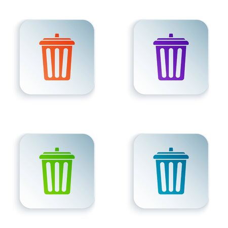 Color Trash can icon isolated on white background. Garbage bin sign. Recycle basket icon. Office trash icon. Set icons in colorful square buttons. Vector Illustration Çizim
