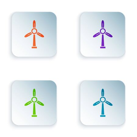 Color Wind turbine icon isolated on white background. Wind generator sign. Windmill for electric power production. Set icons in colorful square buttons. Vector Illustration 向量圖像