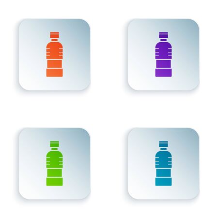 Color Bottle of water icon isolated on white background. Soda aqua drink sign. Set icons in colorful square buttons. Vector Illustration Illustration