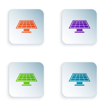 Color Solar energy panel icon isolated on white background. Set icons in colorful square buttons. Vector Illustration
