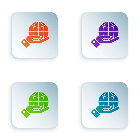 Color Human hands holding Earth globe icon isolated on white background. Save earth concept. Set icons in colorful square buttons. Vector Illustration Ilustrace