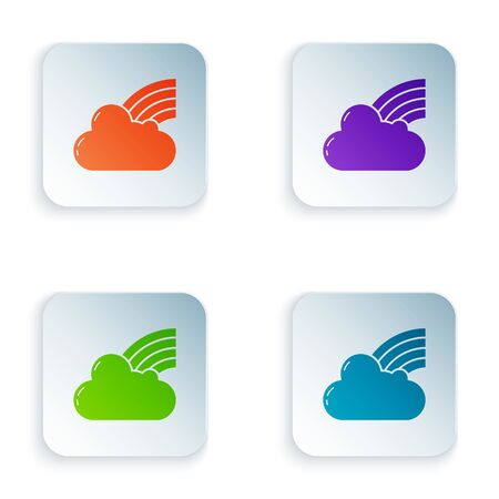 Color Rainbow with clouds icon isolated on white background. Set icons in colorful square buttons. Vector Illustration