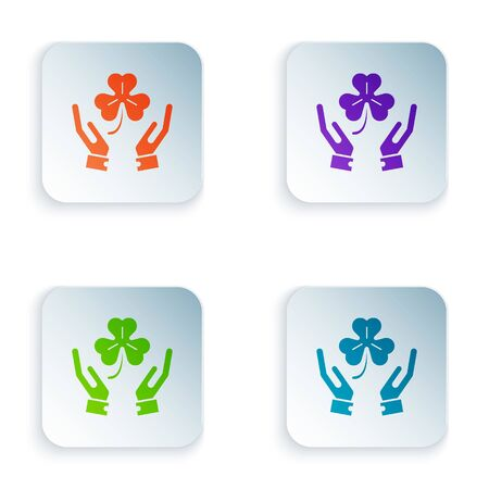 Color Human hands holding four leaf clover icon isolated on white background. Happy Saint Patrick day. Set icons in colorful square buttons. Vector Illustration Illustration